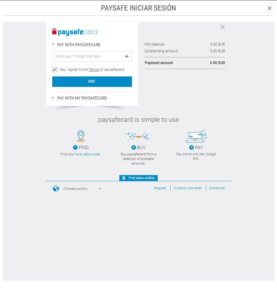 Como depositar de paysafe card for Meridianbet es