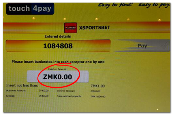 Deposit with Touch4Pay Zambia into XSportsBet Account